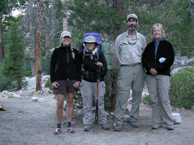 Group photo at Piute Creek  Mary, Michael, and Kerry head south along the JMT today while I head up Piute Canyon