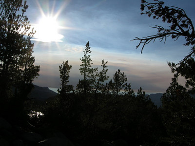 As the sun set the smoke that had been in the distance became much more obvious  I didn't know where it was coming from - I was glad to be heading back to civilization the next day so I could find out if our plans were in danger