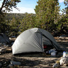 Camp above Upper Golden Trout Lake<br /> <br /> After setting up I went swimming - oh so refreshing!