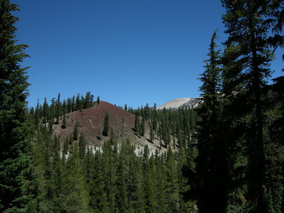Red cone and a peek at Mammoth Mountain (ski resort)