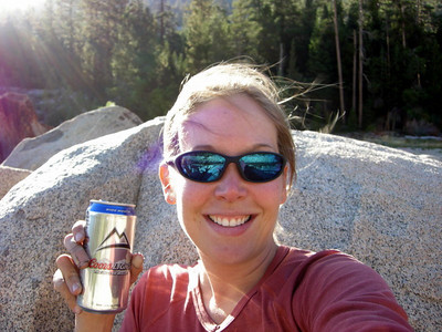 Me, with my cold Coors....mmmm, delicious (ugh)  (canned beer options were very limited, and I wasn't going to carry an empty bottle to North Lake)