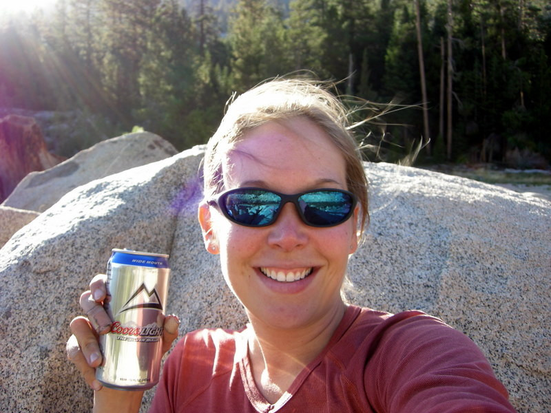 Me, with my cold Coors....mmmm, delicious (ugh)<br /> <br /> (canned beer options were very limited, and I wasn't going to carry an empty bottle to North Lake)