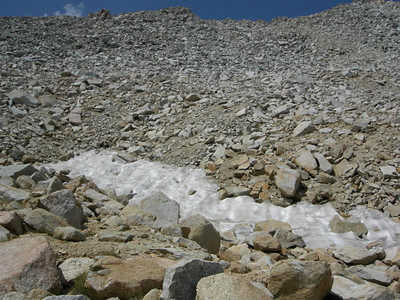 The only snow on Forester Pass this year