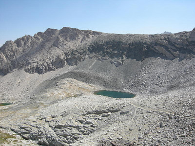 One of the tarns and the switchbacks we just came up.