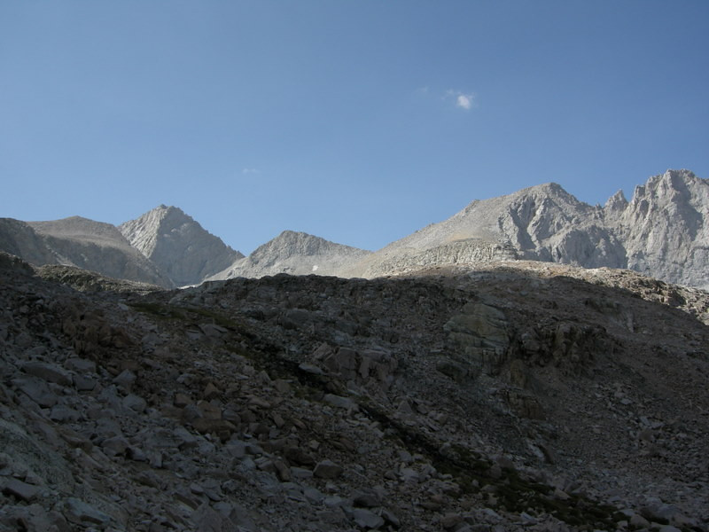 Forester Pass (notch in the middle of the photo)<br /> <br /> Junction peak to the left
