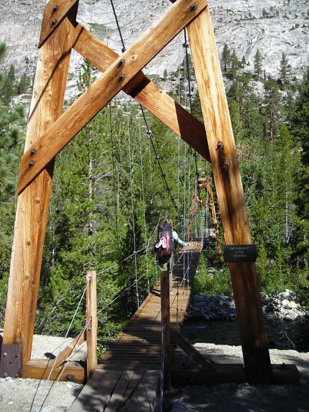 The John Muir Trail Bridge over Woods Creek<br /> <br /> it's a suspension bridge, a mini Mackinac Bridge!