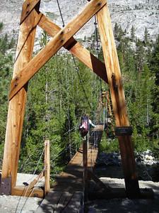 The John Muir Trail Bridge over Woods Creek  it's a suspension bridge, a mini Mackinac Bridge!