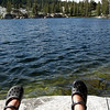 Fishing and relaxing at Upper Twin Lake<br /> <br /> No luck on my first try, but my second set of casts netted a good pan-size rainbow trout
