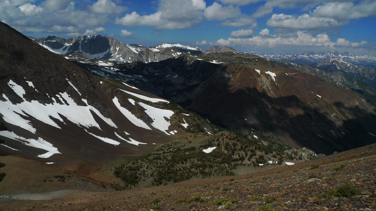 Looking back down on the trail and Laurel Lakes Basin (in the cloud shadow)