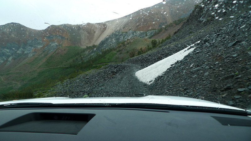 Muddy and rocky shelf road. Wheeeee.