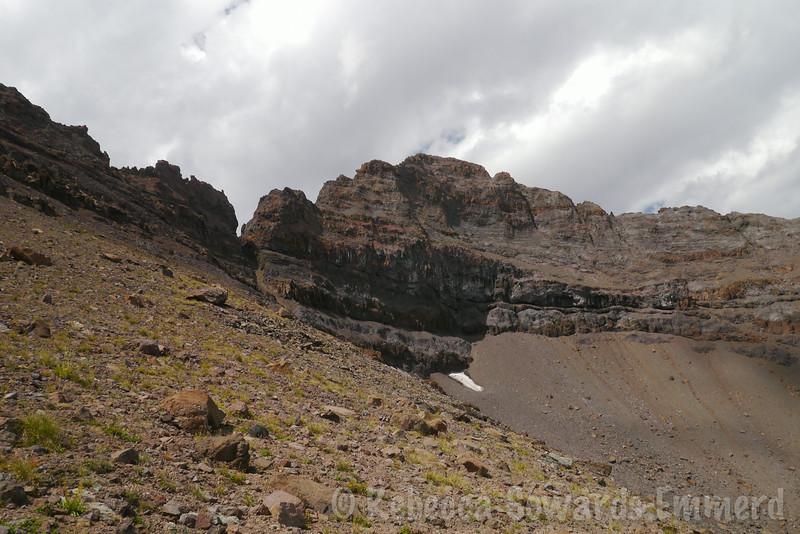 Rocky walls make a natural amphitheater.