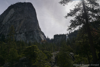 Liberty Cap, Nevada Falls, and our route (trail goes up the low notch between Liberty and the Falls)