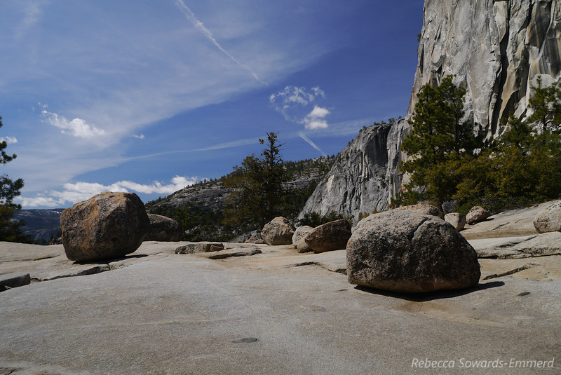 Erratics at the top of Nevada Falls next to Liberty Cap
