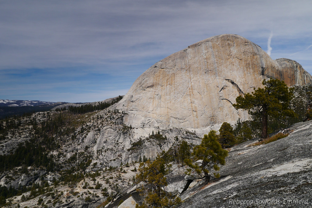 Half Dome and the Snake Dike route.