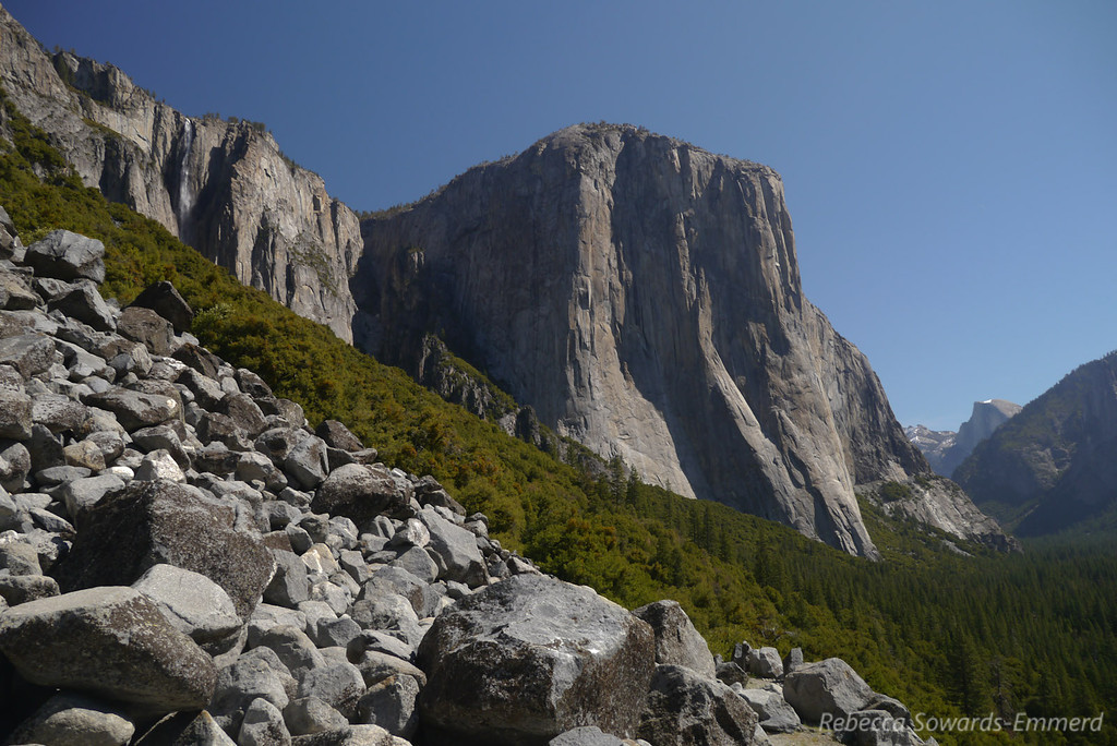 The view of El Cap, Half Dome, and Rainbow Falls are absolutely perfect from this old road.
