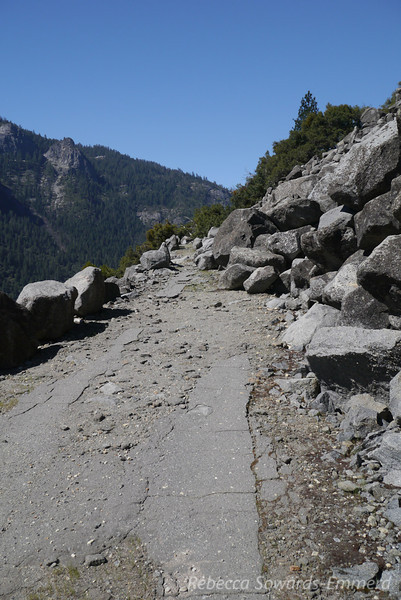 Old pavement and rockslide