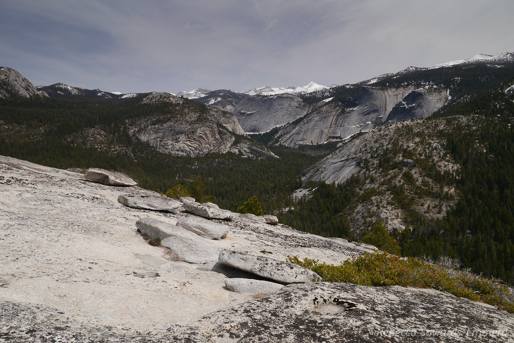 Looking up the canyon. The McClure/Lyell area is the snowcovered peaks in the distance.
