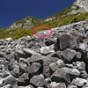 Same picture as above. When you see the old retaining wall above, you know you're at the spot. Hop up the rocks.