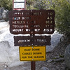 At the bottom of the trail the sign said Mt Whitney 211 miles. Now it's 215. The signs in Yosemite are not known for their accuracy.