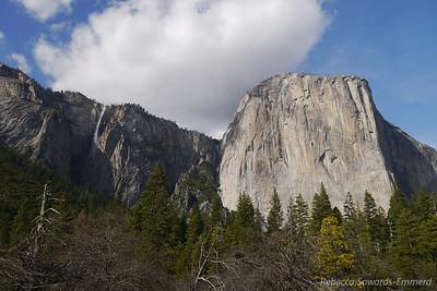 El Capitan and the seasonal Ribbon Falls to the left.