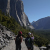 Paige and Sooz photographing the view of El Cap and Half Dome.