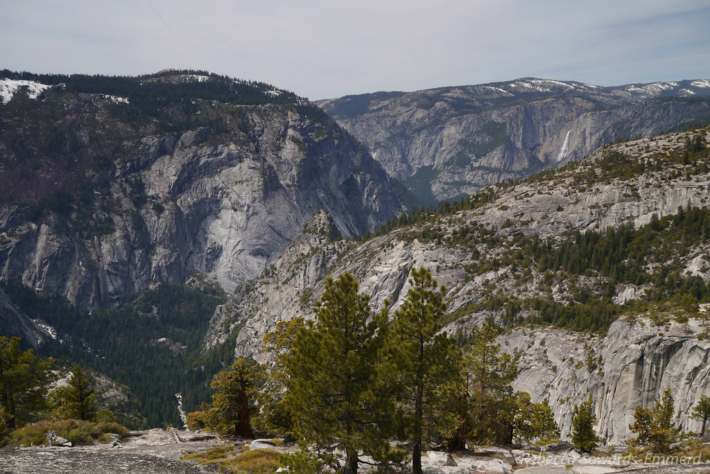 Upper Yosemite Falls is visible in the distance.