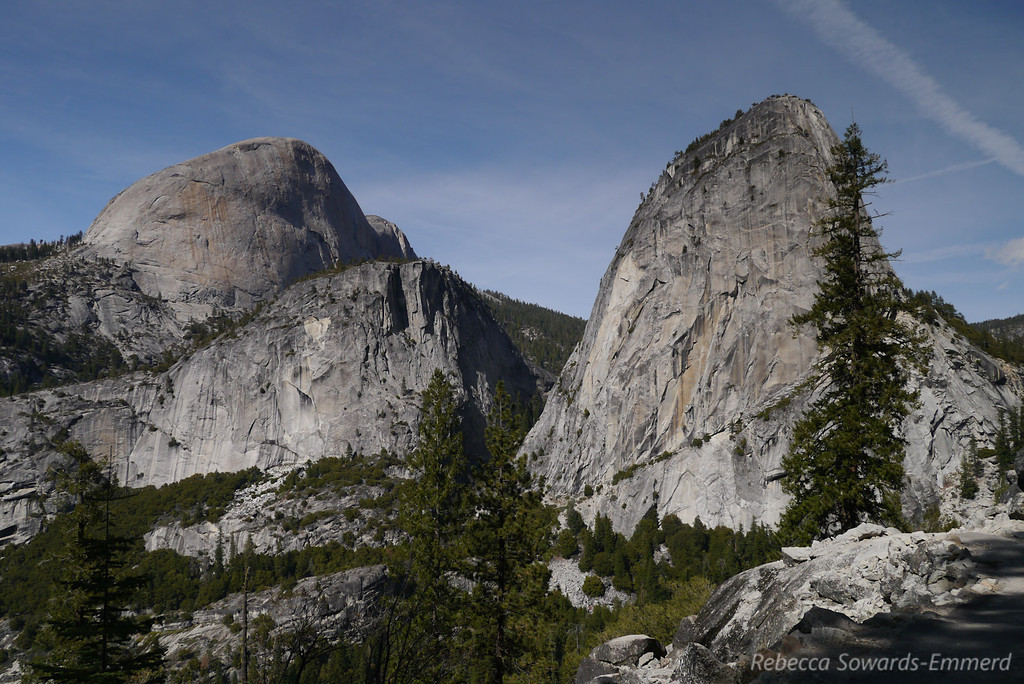 Half Dome (left), Mt Broderick (in front of Half Dome) and Liberty Cap (right).