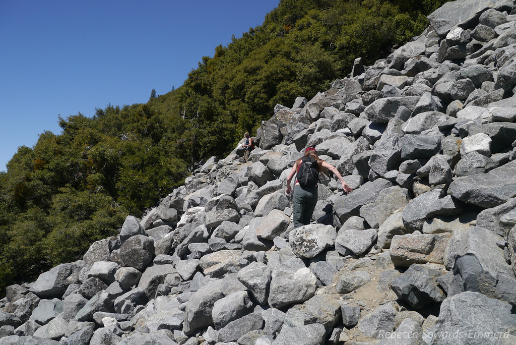 Scrambling up the rocks.
