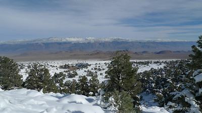 Looking down on the Alabama Hills and across at the Inyos