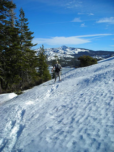 Snow  Dave on one of the few stretches that needed snowshoes (mostly due to the slope/manzanita mix, not the depth).
