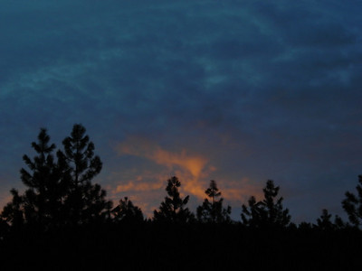 It was a beautiful sunset, and no one was around.  There were just tiny snow patches near our campsite at ~5000 ft