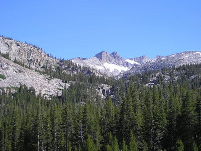 View of Rodgers peak from the trail next to the campsite at Kuna Creek