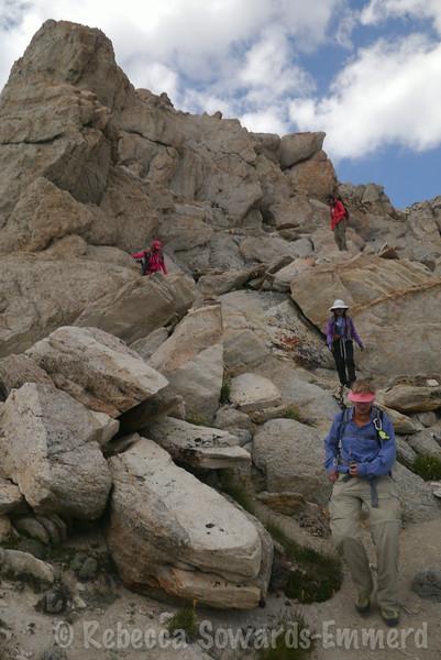 Heading back down the summit block. Piece o' cake.
