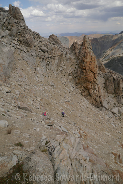 Looking back at the traverse/gendarme. Heading down the chute instead.
