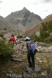 Hiking up Horse Creek. Water is low this year, meaning the walk is a nice rock up up the creek bed.