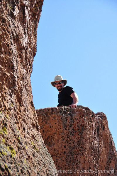 David on the top of a boulder