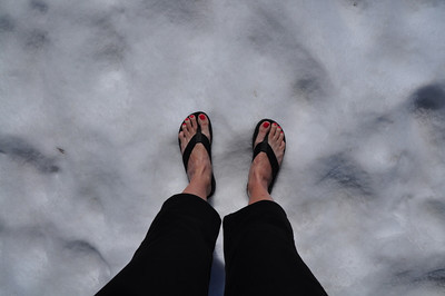 Flip Flops on the snow  Spring in California!