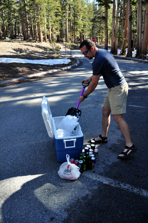 Filling up the cooler with snow near Dana Meadow<br /> <br /> Easier than stopping for ice. :)