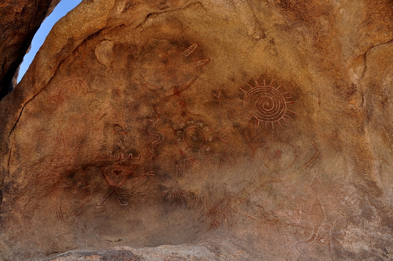 Pictographs<br /> <br /> They look fake to me - I'm pretty sure this had to be a movie set and not real pictographs