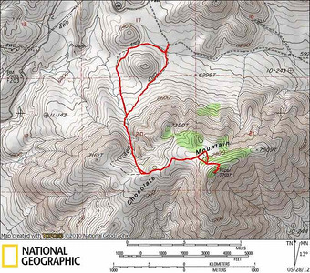 Track of the hike to Chocolate/Piper. We took the left track in between the hills on the hike up. It makes more sense to cut straight up using our return track (the right part of the loop).  On the summit approach you can see where I went cross country and then hooked up with the trail. I took trail all the way down.