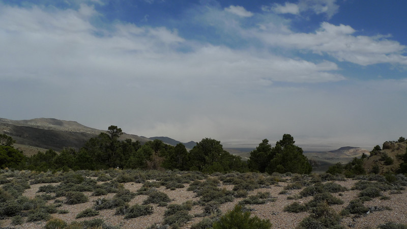 Our campsite had a great view down into Clayton Valley, but it started disappearing in a dust storm by 3:20.