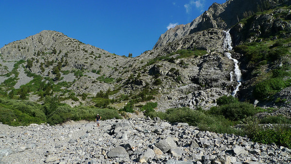 David on the rocky terrain below Pinto Lake