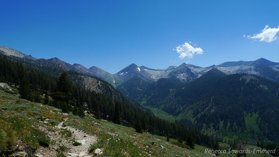 View south into Mineral King from the trail. Low point on the ridge is Farewell Gap.