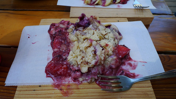 On our way into Mineral King we couldn't resist stopping at Silver City for PIE. Mmmm. This is nectarine blueberry with an almond ginger crust.