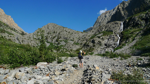 The trail opens up to some really rocky terrain