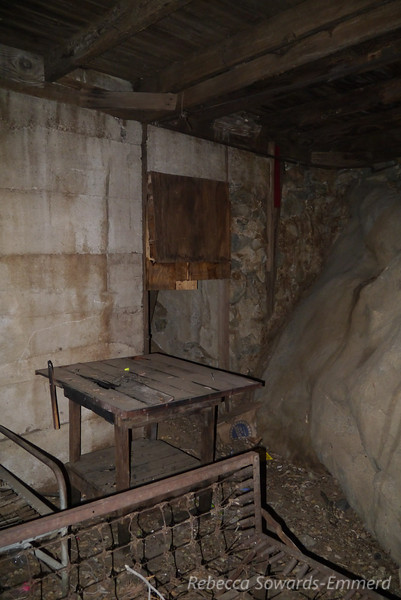 Inside the old cabin. It's built right into the rock.