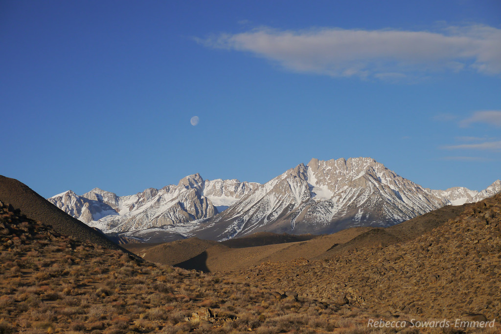 The moon above Humphreys and Basin.