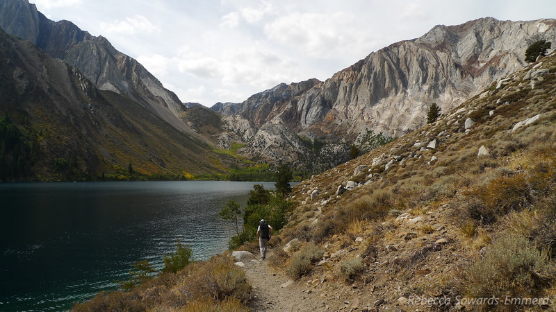 """Walking along Convict Lake. It looks like fall colors are just getting started here. <a href=""""http://photos.calipidder.com/OutdoorAdventures/Laurel-Mountain-Gardisky-Lakes/18317754_ND3nNp"""">Laurel Peak</a> on the right."""
