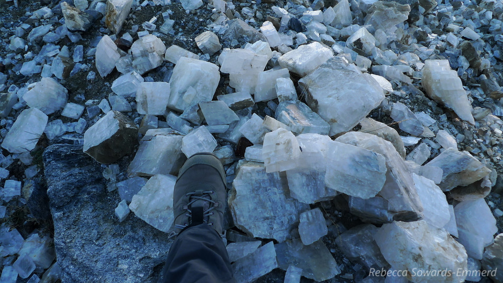 Once we get through the sketchiness we're at the old Calcite mine. Specimens are scattered everywhere - most of which are nice but not completely clear. However, look around and you'll find some remarkably clear pieces.