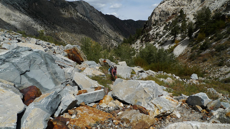 Climbing through some rubble. The trail is washed out in a few spots but it's never bad.